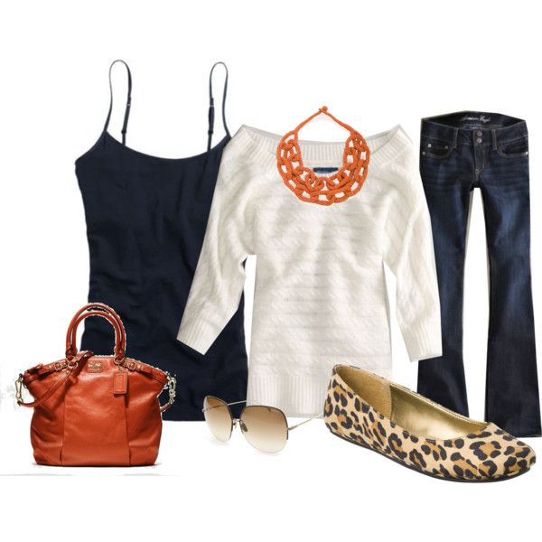 change the bag/necklace to red....meFashion, Clothing Ideas, Leopards Shoes, Style, Closets, Outfit, Orange Fall, Leopards Prints, Animal Prints