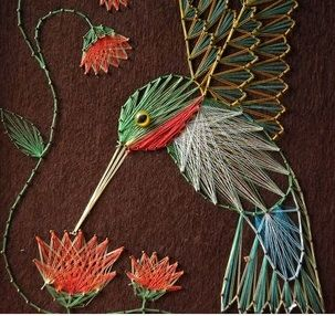 Hummingbird String Art- my folks used to do this in the 70's