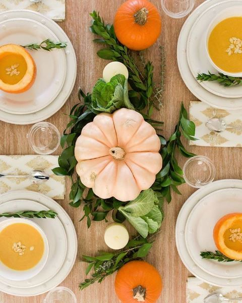 A #JuliskaJoy Thanksgiving tablescape featuring Berry & Thread, styled by @juliadzafic. Thoughtfulness is in the details! We love how the pumpkin soup is also being served in petite pumpkins.