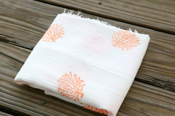 Coral Coral - Hand Stamped Swaddle Blanket Cotton Gauze Muslin Baby Unisex Gender Neutral Nautical Ocean