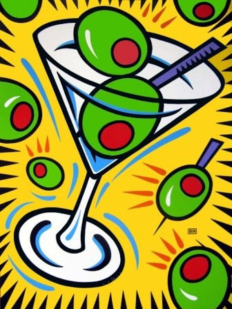 Burton Morris ~ Martini and Olives Pop Art. not good subject matter for kids but love the shape ideas
