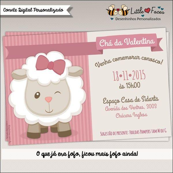 Convite Chá de Bebê Ovelhinha Digital