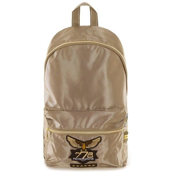 TOPMAN Metallic Gold Military Style Backpack (55 BRL) ❤ liked on Polyvore featuring men's fashion, men's bags, men's backpacks, metallic and topman