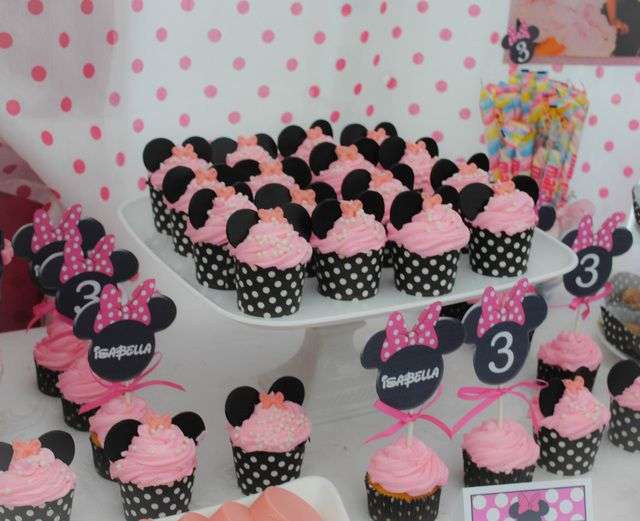 Adorable cupcakes at a Minnie Mouse party! See more party ideas at CatchMyParty.com! #partyideas #minniemouse
