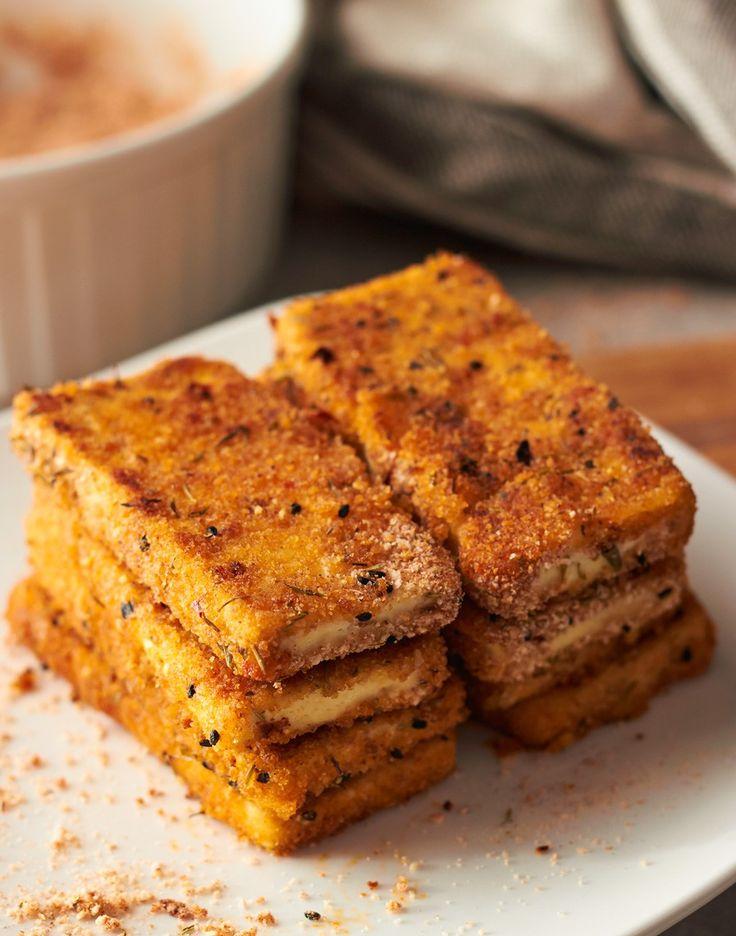 Cajun Spiced Tofu (breadcrumbs, lite firm tofu, chickpea brine aquafabe or egg whites) | delightful vegans