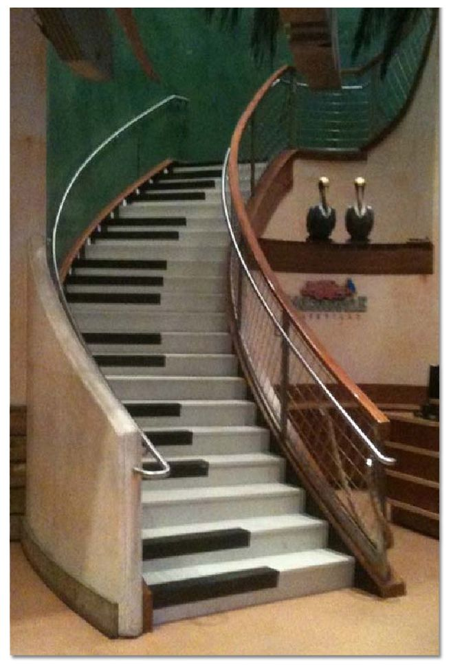What a funny idea.. But the easiest way to learn how to play the piano is step by step.  Playing your first scale is exactly the same like climbing up the stairs.