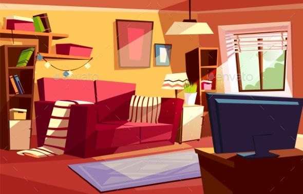 Living Room Interior Vector Cartoon Illustration Cenario Anime