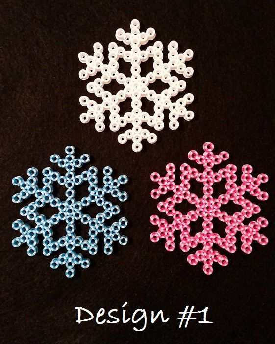 Snowflake perler bead ornaments
