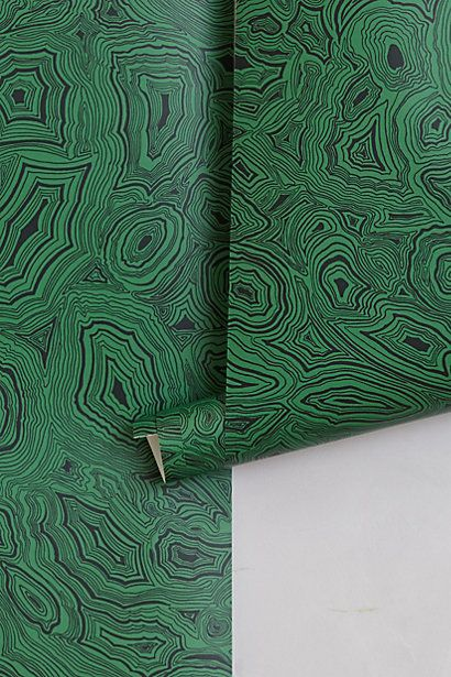 green malachite wallpaper-I would love to put this in the laundry room or the bathroom.