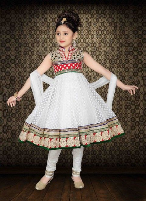 White Net Readymade Kids Salwar Kameez