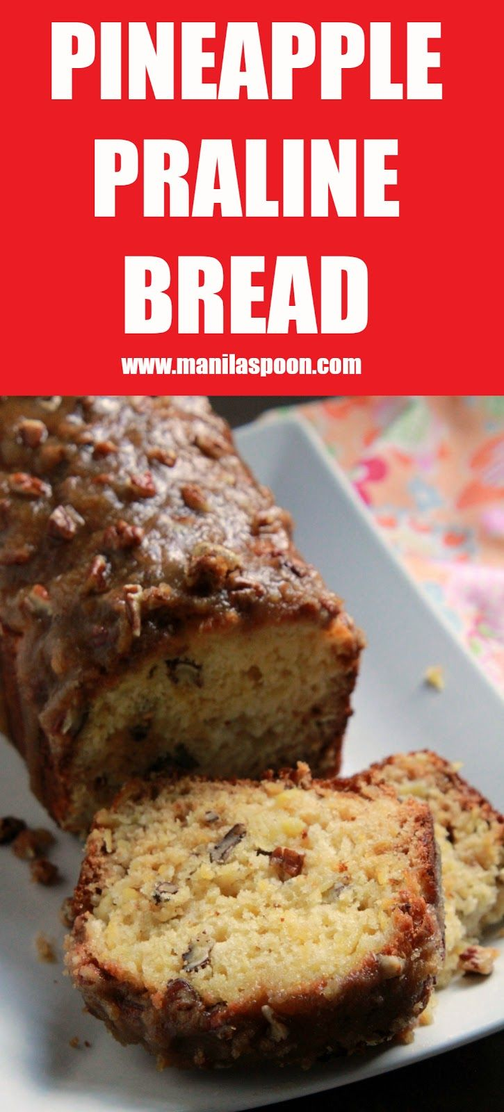 Crushed pineapple makes this Pineapple Praline bread super moist and flavorful. No butter or oil is ever used in the batter. The crunchy pecan topping makes it even more scrumptious.