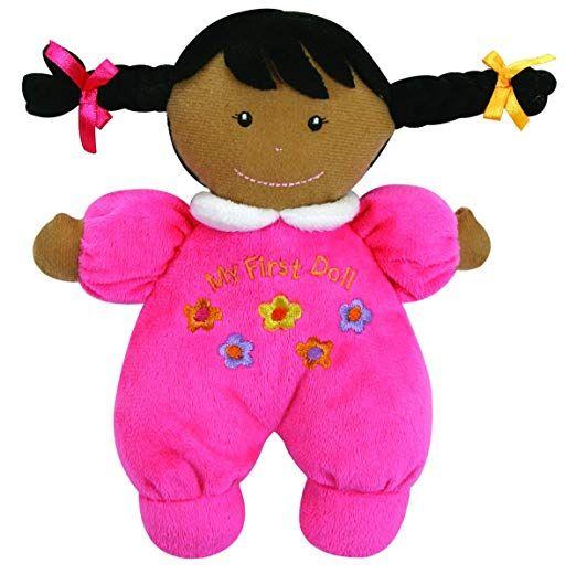 Baby Stephan Ultra Soft Plush My First Doll W// Dark Complexion Black Hair Hot Pi
