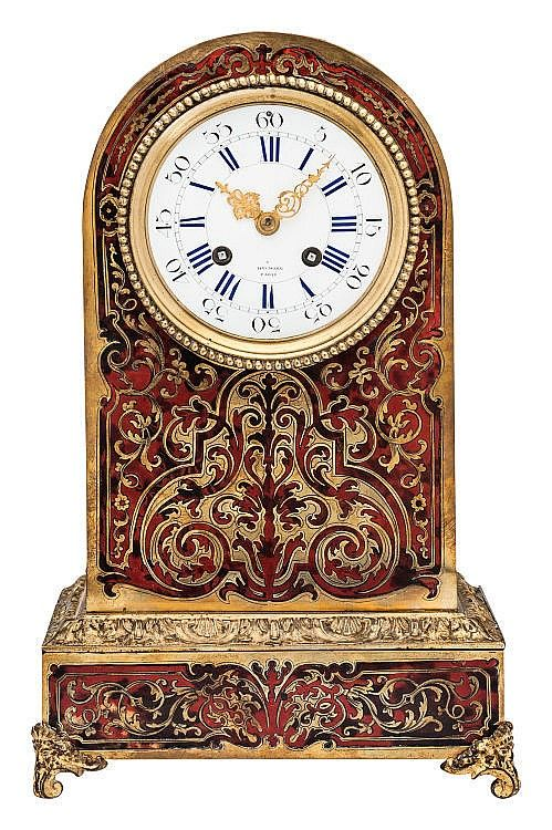 Elegant French Boulle marquetry clock, Henry Marc, Paris circa 1850. Gilt bronze, tortoise shell, brass and wood. Eight-day movement, striking on a bell. Dial signed «Hry Marc Paris»m.