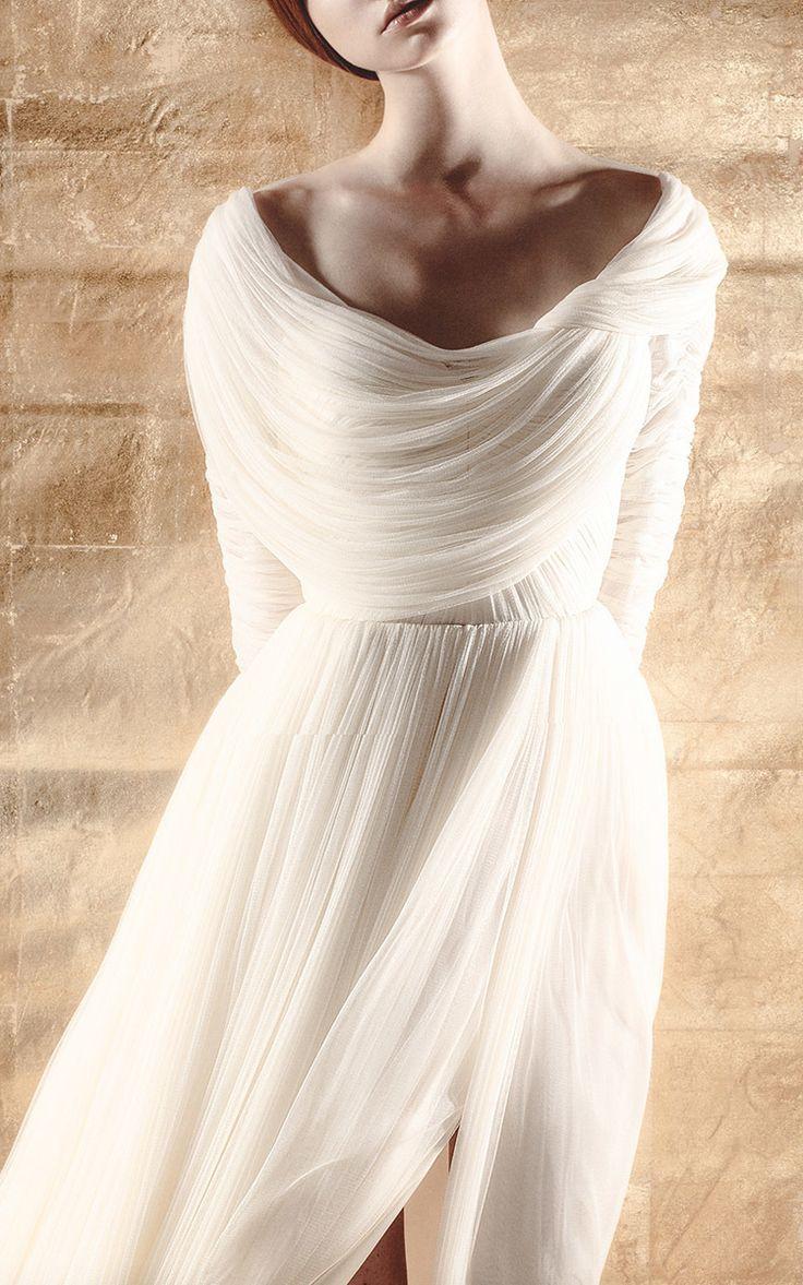 low boat neck dress by delpozo