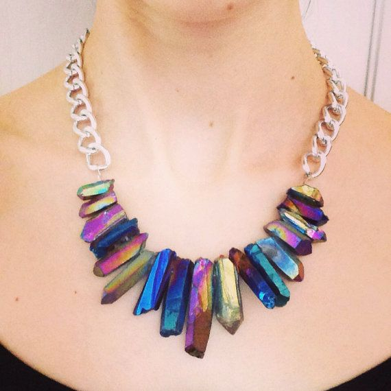 Rainbow Titanium quartz chunky silver necklace. Handmade
