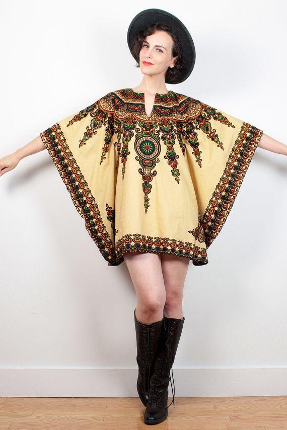 Vintage Dashiki Dress Tunic Kaftan African Scarf Print Caftan 1970s Top Micro Mini Dress Ethnic 70s Hippie Dress Bohemian Festival S M L OS #vintage #etsy #1970s #70s #hippie #boho #bohemian #tunic #mini #dress #dashiki #ethnic #caftan #kaftan