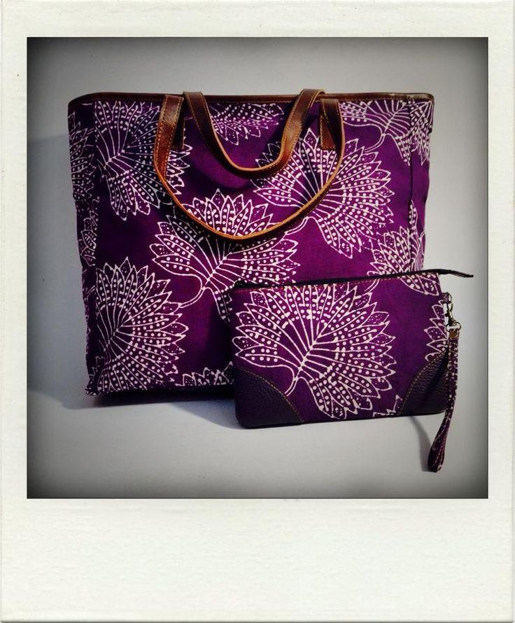 Medium tote bag & pouch - purple batik