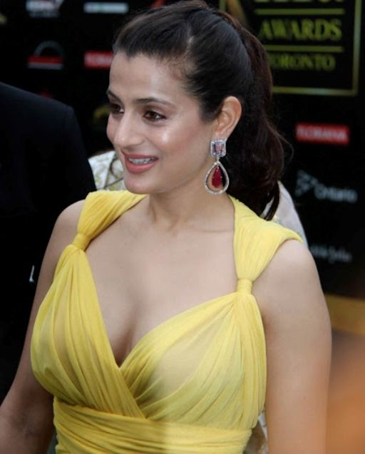 ameesha patel shows her bigger assets in full view...everything is crystal clear in see-through dress