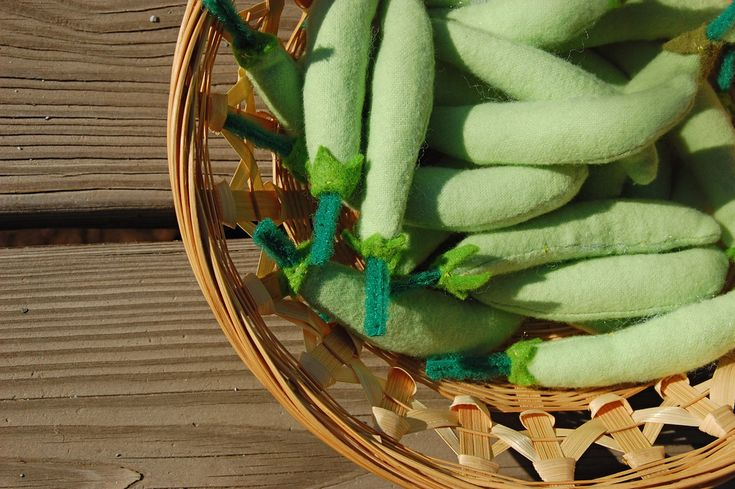 pea pods, they have pony beads inside to feel like real peas!