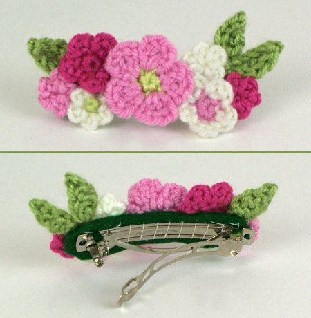 Crochet Embellishments Tutorial -  describes how to create clustered embellishments and attach them securely to hardware such as hair clips, barrettes, hairbands, pin backs. Nx