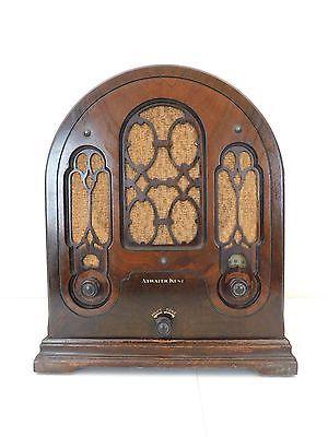 VINTAGE-1930s-ATWATER-KENT-GOTHIC-DEPRESSION-ERA-ANTIQUE-CATHEDRAL-TUBE-RADIO