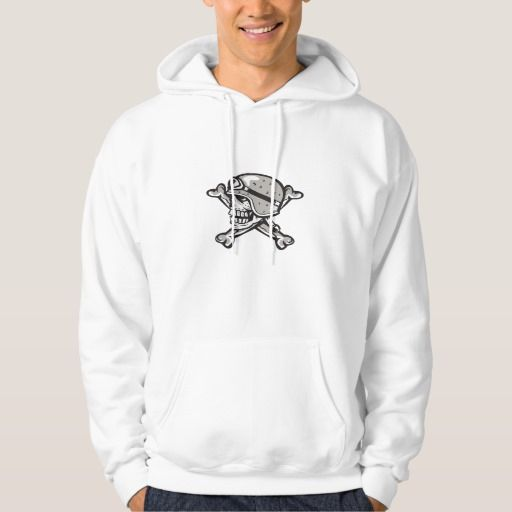 Skull Bones Bike Helmet Side Retro Pullover. Illustration of a skull looking to the side wearing bike helmet with bones at the back set on isolated white background done in retro style. #Illustration #SkullBonesBikeHelmet