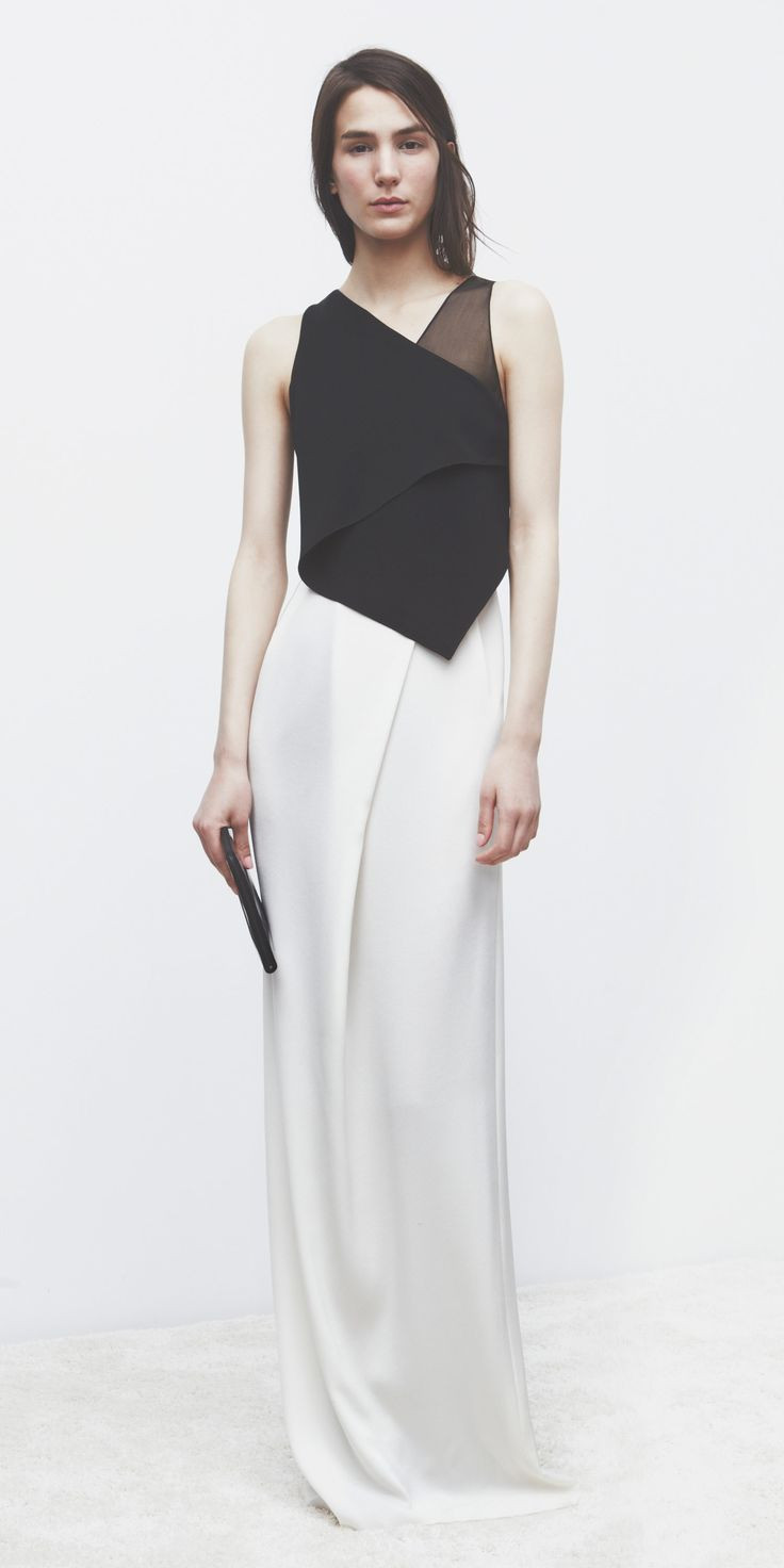 Minimalist AW | 3.1 Phillip Lim | Holiday 2013 | Ivory & Black layered silk gown : Minimal + Classic