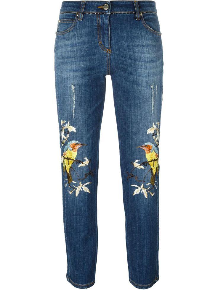 Roberto Cavalli джинсы с вышивкой в виде птиц