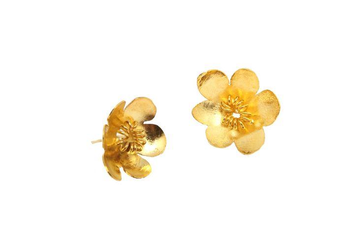 Aretes Topos Flores Pequeñas Baño en Oro Andrés Rodríguez | Antes: $127,000.00, HOY: $54,000.00
