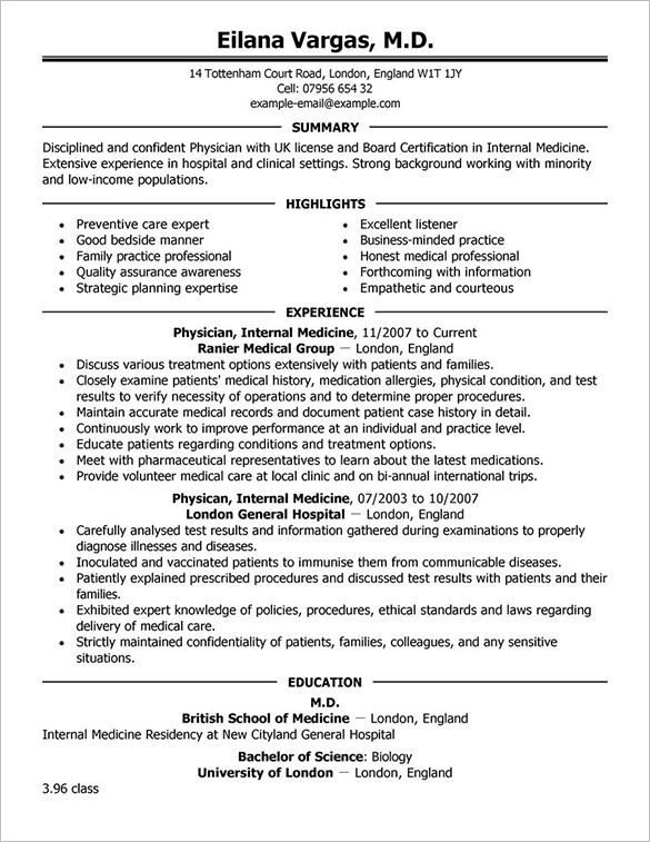 8+ Physician Resume Templates Free Printable Word  PDF MS Word - Insuper Resume Builder