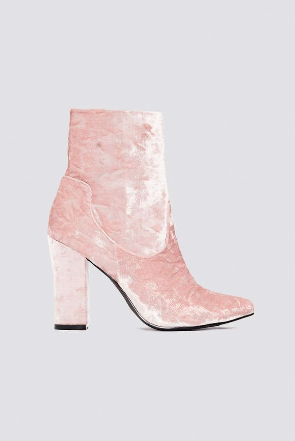 26bcd8d86 Na Kd Shoes Velvet Mid Heel Boot Light Pink #nakdfashion #Velvetboot  #Celebrate #coldoutside