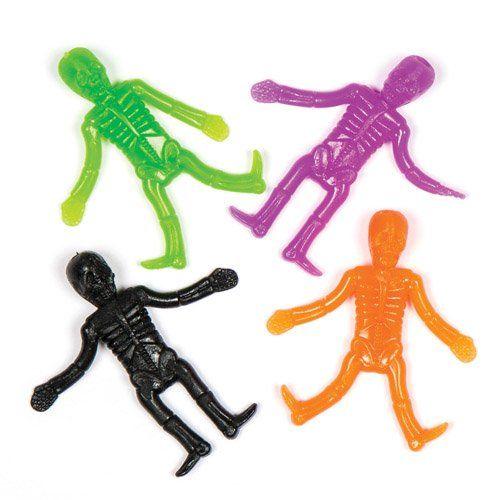 Scheletri allungabili con cui i bambini possono giocare. Perfetti per riempire sacchetti regalo e come premi per estrazioni di Halloween per bambini e bambine (confezione da 8)