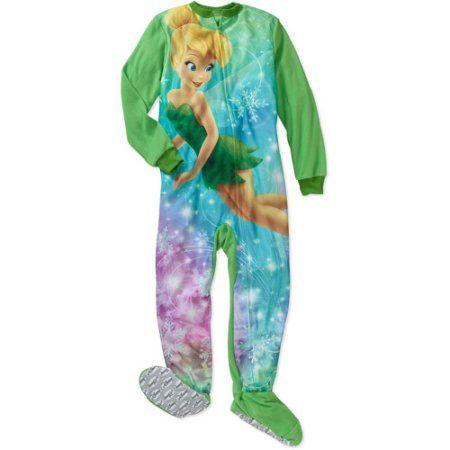 Disney Girls' Tinkerbell Footed Blanket Sleeper Pajamas, Green
