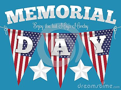 Poster with festive American buntings hanged for Memorial Day celebration.