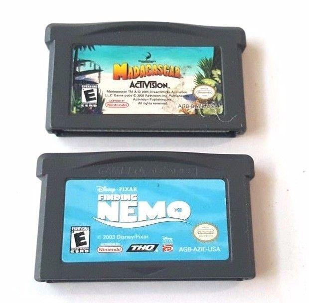 2 Gameboy Advance Games Lot MADAGASCAR & FINDING NEMO Kids Adventure  Fun