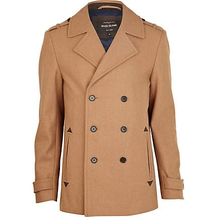 Brown double breasted pea coat £85.00