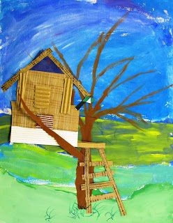 North Art Alert: Third Grade Treehouses: Third Grade students learned about the Canadian artist, Emily Carr before painting their sky. They used different shades of green for their Foreground, Middle Ground and Background.