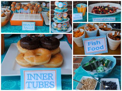 How to throw a Sprinkler Party!  (inner tubes=doughnuts, beach balls=cake pops, fruit of the sea=cut up fruit, fishy food=goldfish crackers, raisins, marshmallows and pretzels, pool noodles =string cheese, etc.)