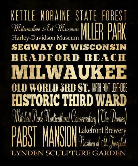 Milwaukee, Wisconsin, Typography Art  Canvas / Bus  / Transit / Subway Roll Art 20X24 - Milwaukee's Attractions Wall Art Decoration-LHA-189. $164.95, via Etsy.
