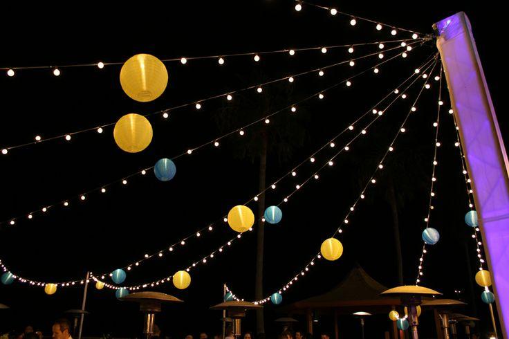 Japanese lanterns at night