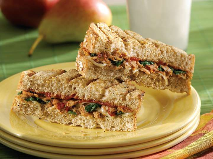 Clover leafs tuna grilled cheese sandwich with pizzazz