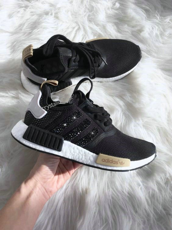 381bb56e3028a 2018-2019 New Arrival Running Shoes Authentic Adidas NMD Sneakers Black  Gold White Adidas Sripes logos SWAROVSKI Crystals Shoes 2018