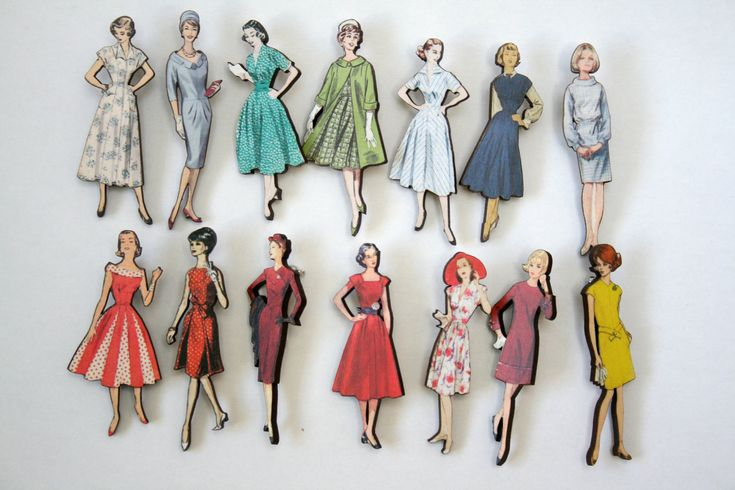 Brooches made from old sewing patterns: Wooden Vintage Fashion Lady Brooch by ladybirdlikes on Etsy