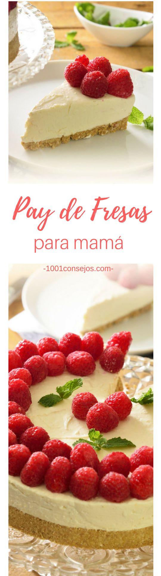 Sorprende a mamá con este pastel de queso, no te preocupes, ¡es muy fácil de preparar! | pastel para día de las madres | pastel de queso con fresas | pay de queso con fresas sin hornear. | #postres #díadelasmadres