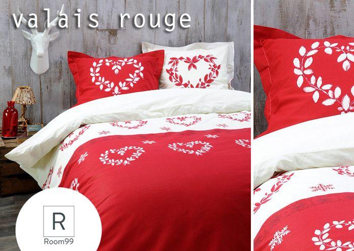 Biało czerwony komplet pościeli z bawełny z ornamentem