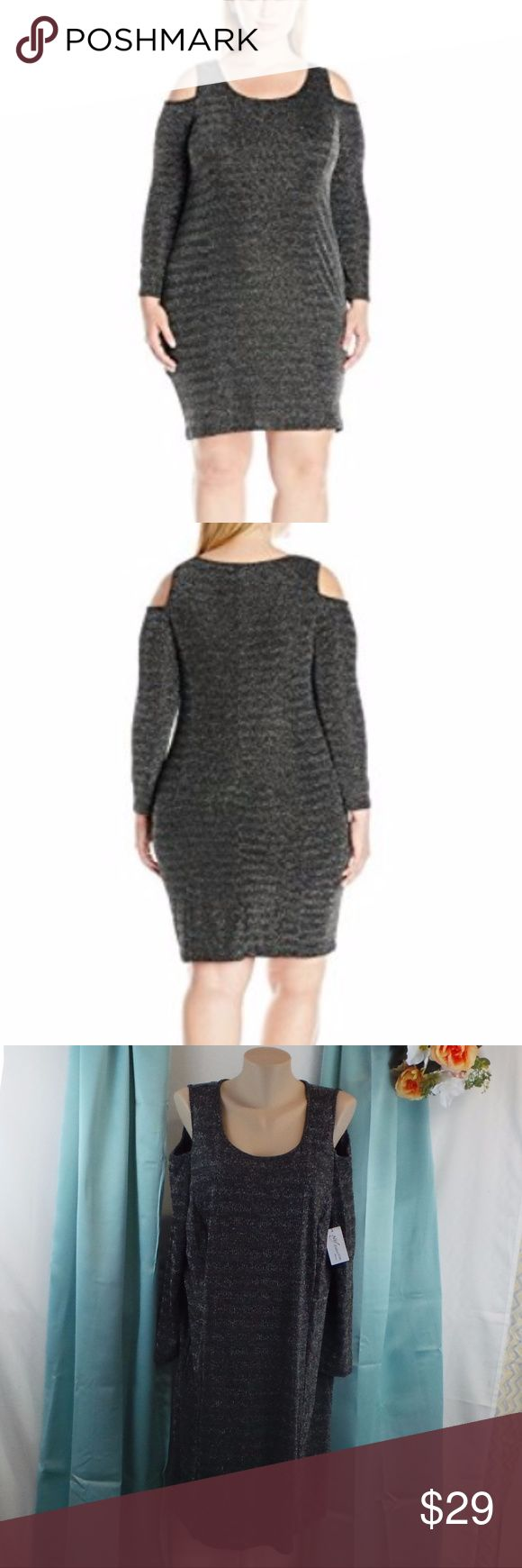 Long Sleeve Cold Shoulder Lurex Dress Metallic NWT Fitted cold shoulder sheath dress - silver metallic NWT Size 3X 100% Polyester Imported Machine Wash Solid long sleeve cold shoulder lurex dress Great for the work place, a night out, and even every day wear  704974172816 AD6 NY Collection Dresses Mini