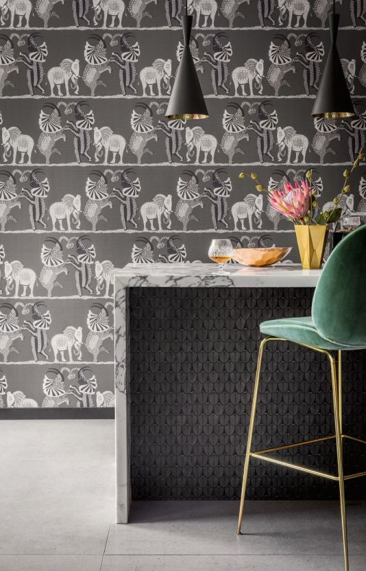 Safari Dance Wallpaper A wonderfully fun wallpaper featuring a trio of elephants dancing horizontally across the African Plains on a softly speckled backdrop. Shown in black, white and grey.