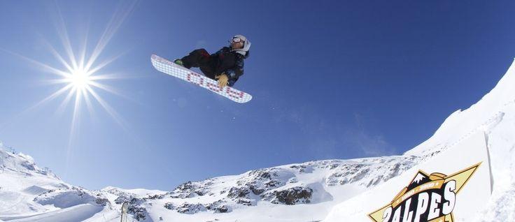 Snowboarding at Les Deux Alpes Ski Resort, France