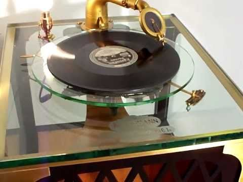 """Here ia a very rare Kurtzmann Glass Phonograph playing an Edison recording of """"Button up Your Overcoat"""""""
