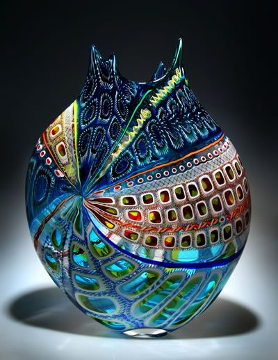 Vase - Blown Glass, designed by D. Patchen - art glass. Oh, this is nice! Millle Fiore?                                                                                                                                                      More